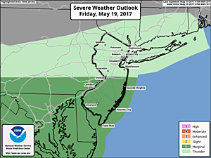 Severe Weather Outlook for Friday, putting the southern half of the state at a marginal risk for strong to severe thunderstorms.  (Storm Prediction Center)