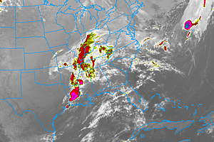 Enhanced IR Satellite image, showing the massive storm system that will impact NJ over the Mother's Day Weekend.  (College of DuPage Meteorology)