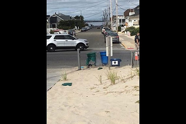 Trash can where a pipe bomb went off in Seaside Park