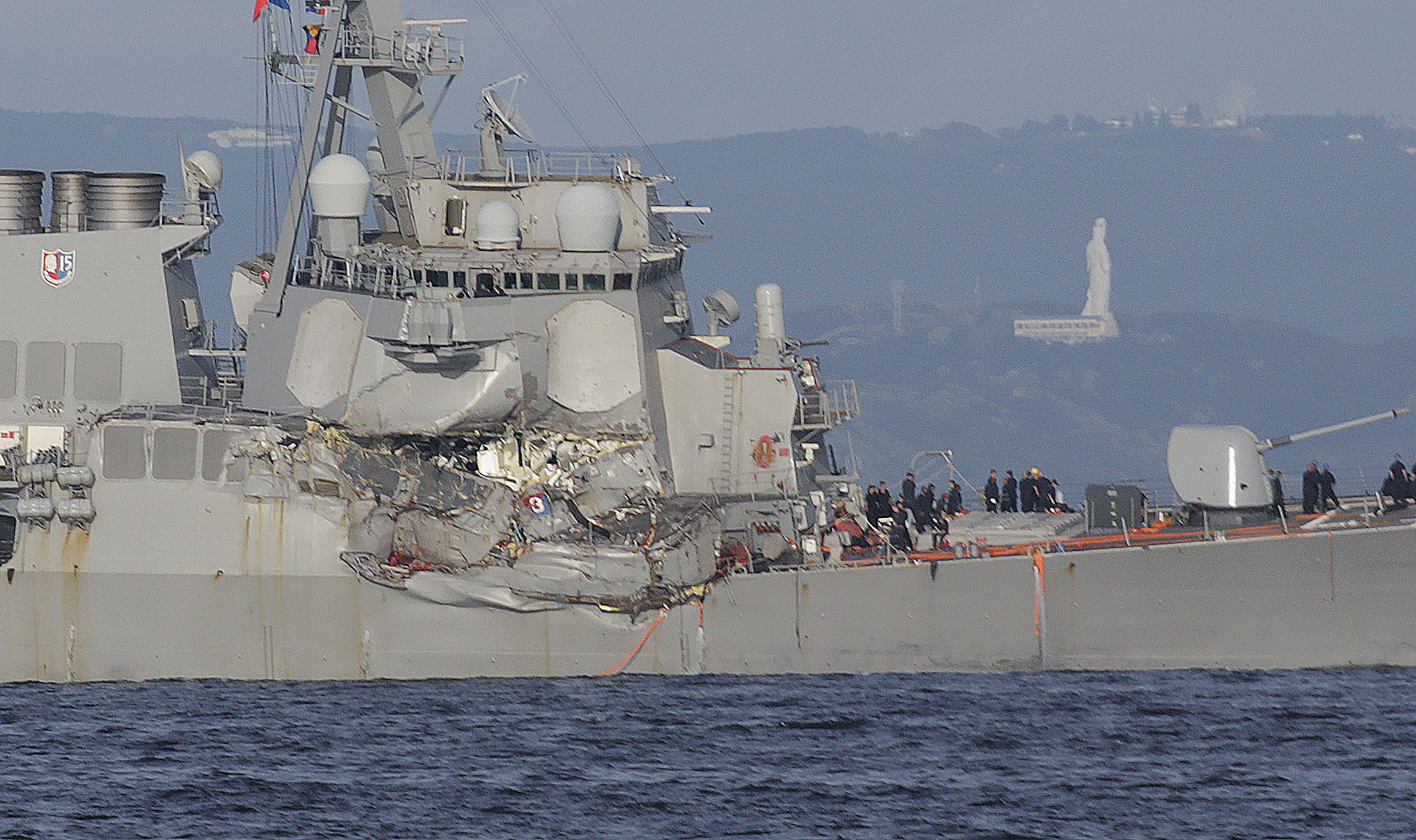 The damaged USS Fitzgerald is seen near the U.S. Naval base in Yokosuka Japan
