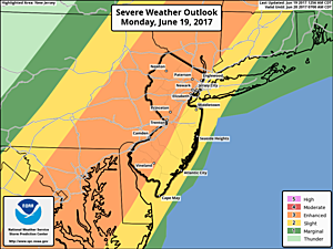 "The Storm Prediction Center's Severe Weather Outlook for MOnday places much of New Jersey in an ""Enhanced"" risk - the highest of 3 threat levels.  (NOAA / SPC)"