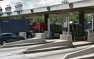 The toll plaza at Exit15W of the New Jersey Turnpike