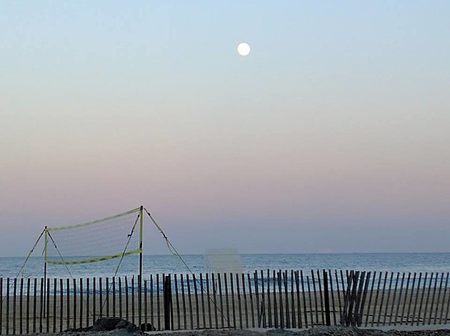 Full moon over the Atlantic Ocean in Belmar
