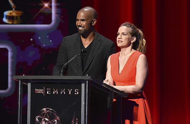 Shemar Moore, left, and Anna Chlumsky appear at the 69th Primetime Emmy Nominations Announcements