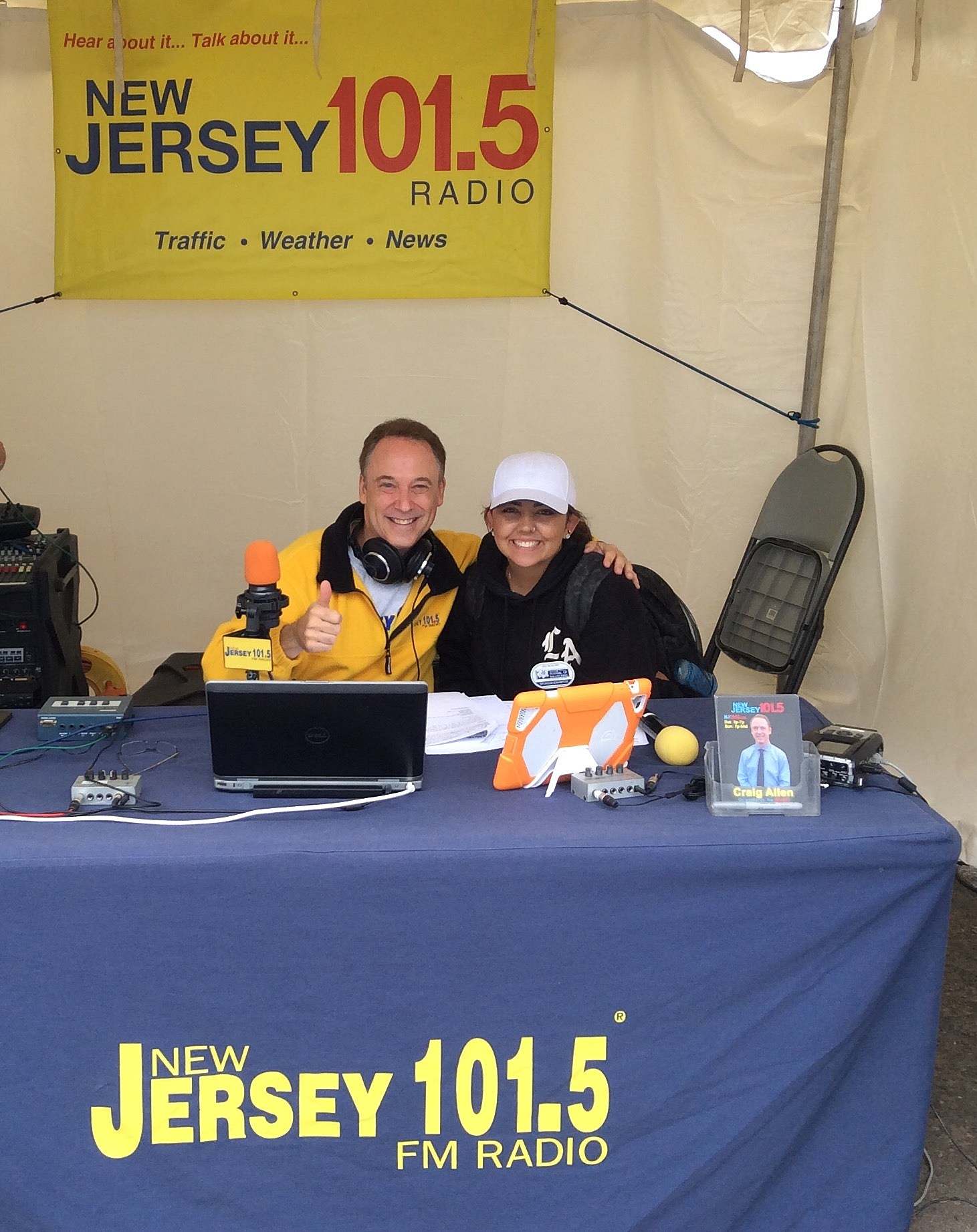 With Sierra's help as my producer, we are on the air! (NJ Prize Team photo).