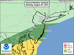 Severe Weather Outlook from the Storm Prediction Center, showing a marginal to slight risk for damaging winds across most of New Jersey.  (NOAA / SPC)