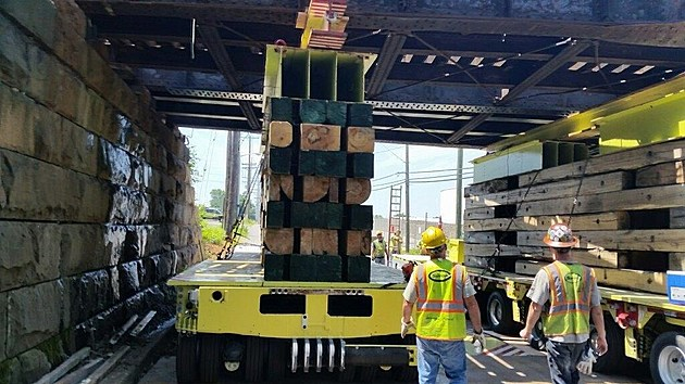 Repairs on NJ Transit's  River Road rail bridge in Pennsauken