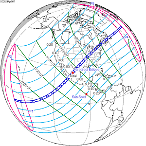 Path of totality for the solar eclipse on April 8, 2024.  (NASA)