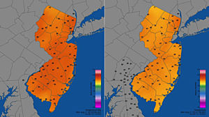 Temperature maps from before (left) and after (right) the solar eclipse, showing a 5 to 7 degree temperature drop across most of New Jersey.  (NJ Weather Network)