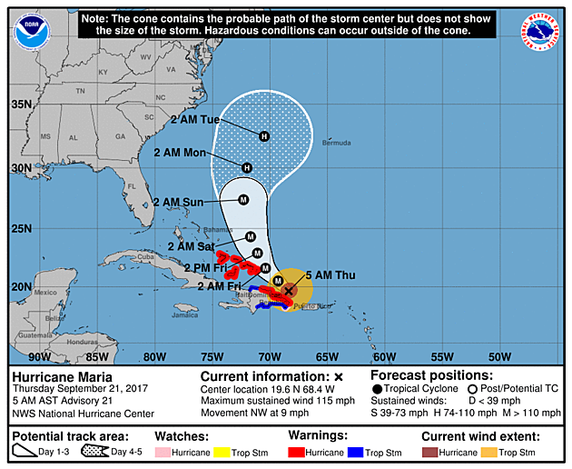 Official forecast update for Hurricane Maria, as of 5 a.m. Thursday.  (NOAA / NHC)