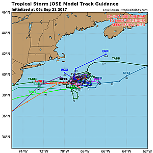Forecast model spaghetti plot for Tropical Storm Jose, showing little movement over the next 48-72 hours.  (TropicalTidbits.com)