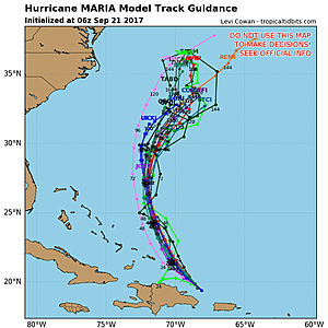 Forecast model spaghetti plot for Hurricane Maria, with a clear trend toward the north-northeast.  (TropicalTidbits.com)
