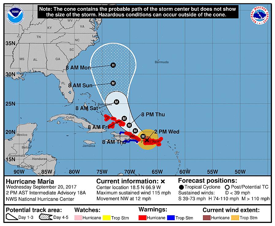 forecast update on hurricane maria as of 2 p m wednesday noaa nhc
