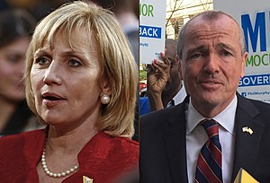 Kim Guadagno and Phil Murphy