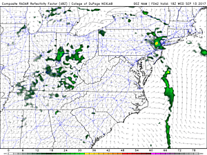 NAM model rainfall forecast for Wednesday, showing minimal showers and a light thunderstorm over New Jersey.  (College of DuPage Meteorology)