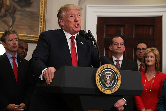 President Donald Trump during an event in the Roosevelt Room of the White House
