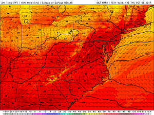 HRRR model temperature forecast for Thursday afternoon.  (College of DuPage Meteorology)