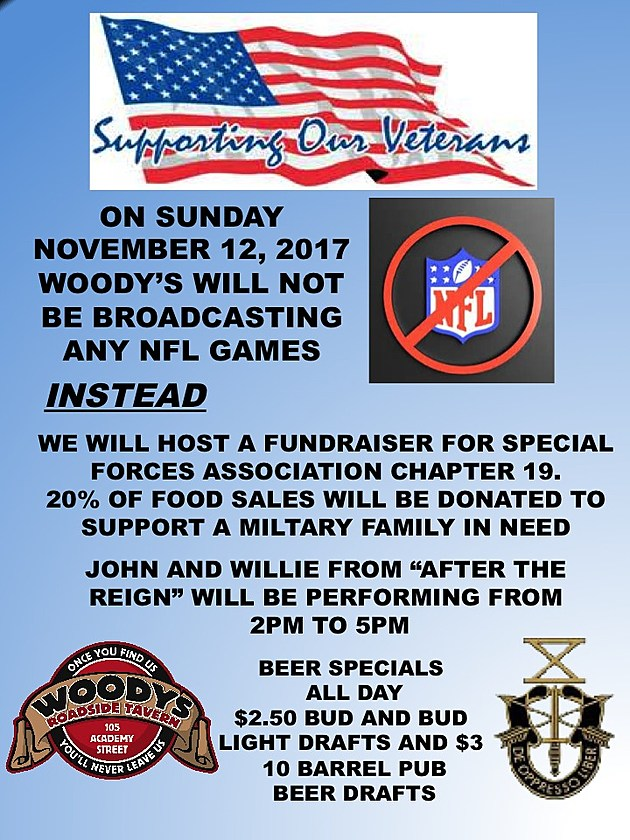 Flier promoting Woody's Tavern ban on NFL games