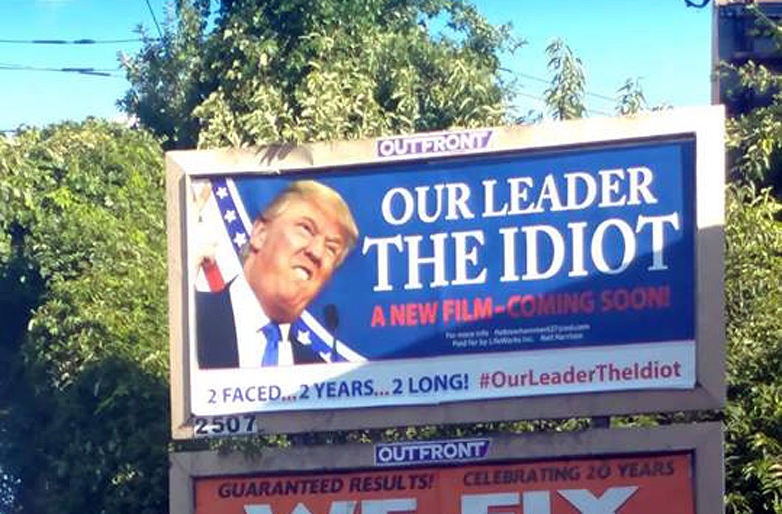 A billboard for an upcoming movie about Donald Trump on Route 22 in Union Township